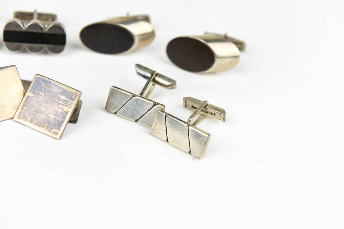 (6) PAIR MODERNIST STERLING CUFFLINKS - 4