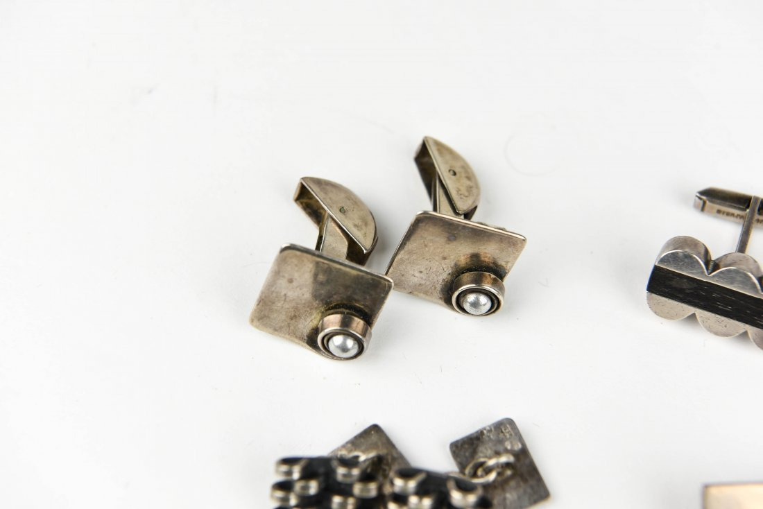 (6) PAIR MODERNIST STERLING CUFFLINKS - 7