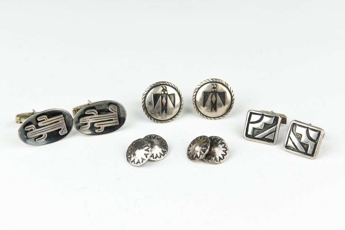 (4) MEXICAN AND NAVAJO STERLING SILVER CUFFLINKS