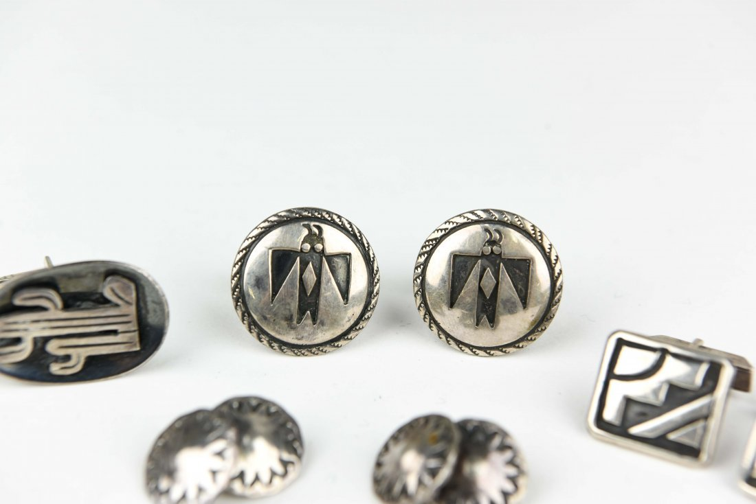 (4) MEXICAN AND NAVAJO STERLING SILVER CUFFLINKS - 3