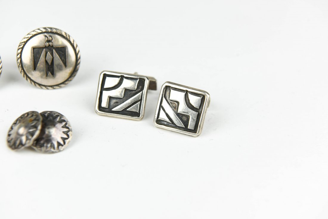 (4) MEXICAN AND NAVAJO STERLING SILVER CUFFLINKS - 4
