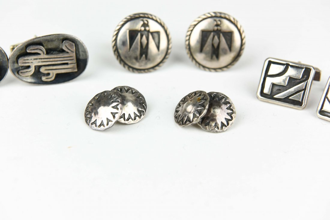 (4) MEXICAN AND NAVAJO STERLING SILVER CUFFLINKS - 5