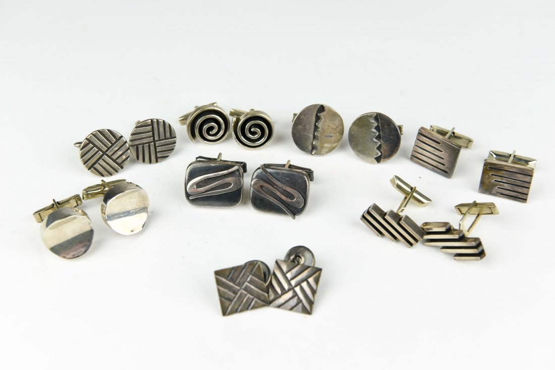 (8) PAIR MODERNIST MEXICAN STERLING CUFFLINKS