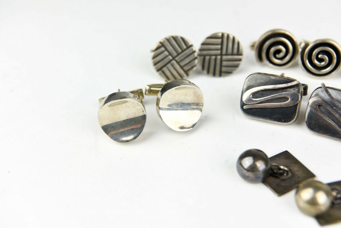 (8) PAIR MODERNIST MEXICAN STERLING CUFFLINKS - 2