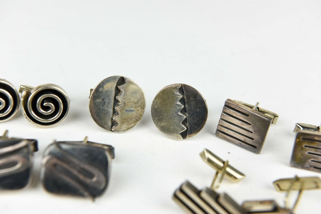 (8) PAIR MODERNIST MEXICAN STERLING CUFFLINKS - 6