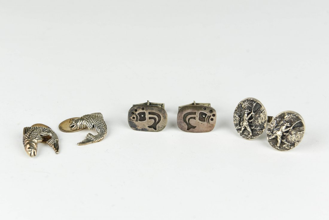 (3) PAIRS OF STERLING FISH AND FISHING CUFFLINKS