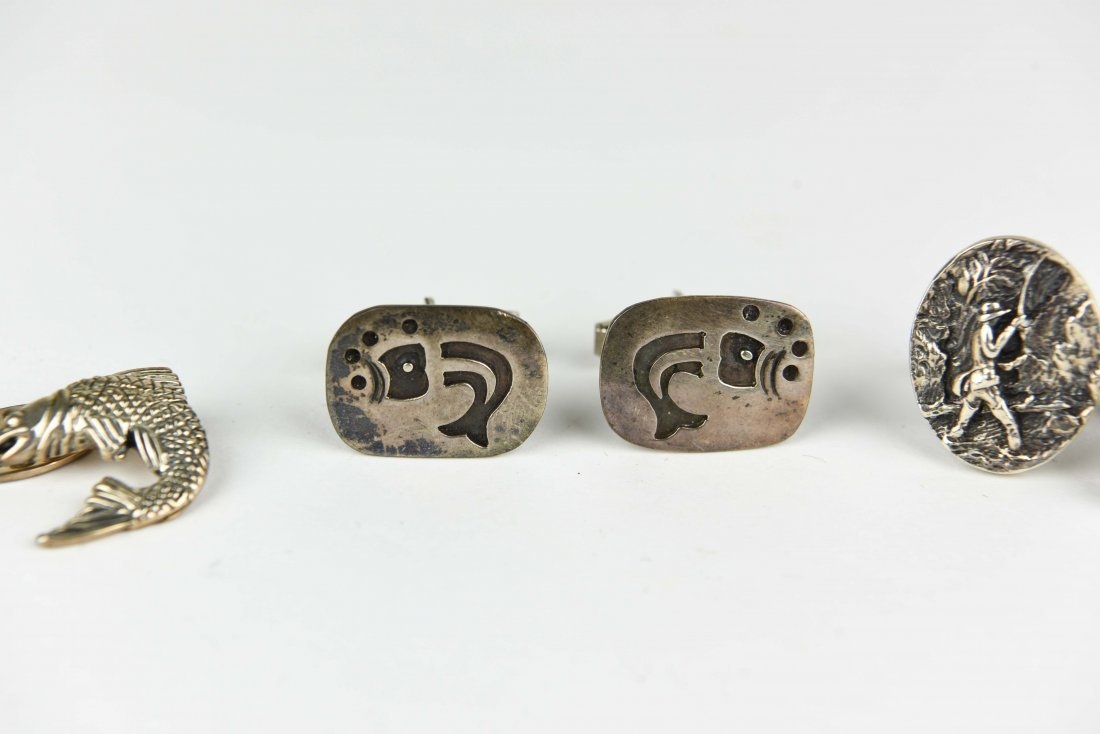 (3) PAIRS OF STERLING FISH AND FISHING CUFFLINKS - 3