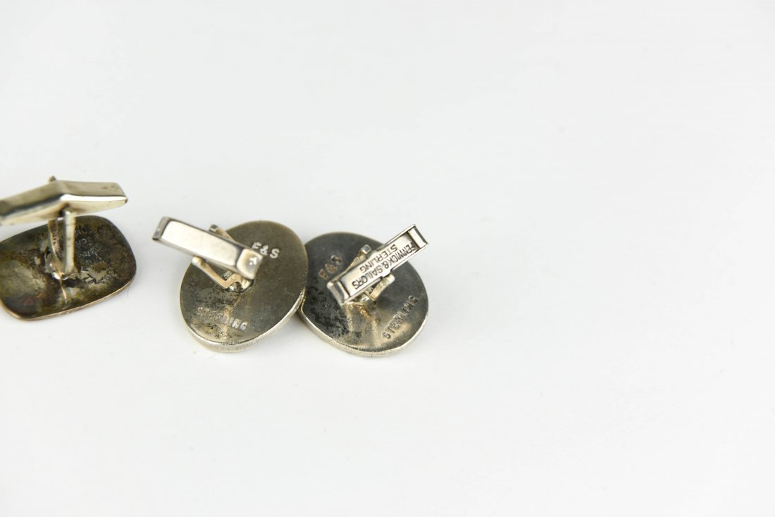 (3) PAIRS OF STERLING FISH AND FISHING CUFFLINKS - 6