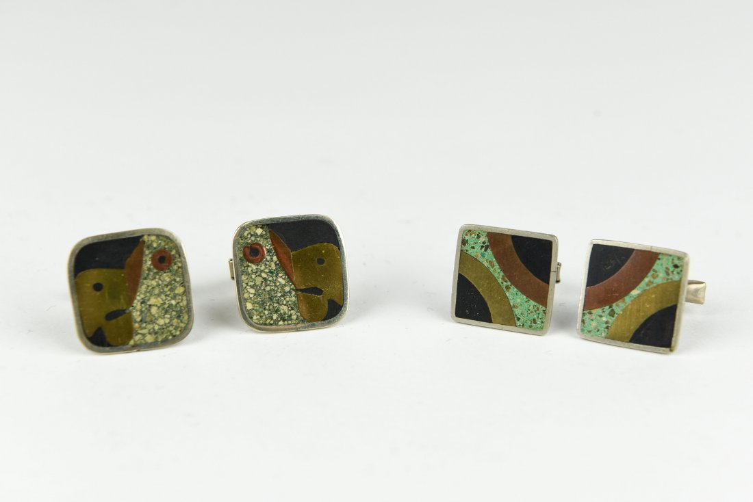 (2) PAIR OF MODERNIST MEXICAN SILVER CUFFLINKS