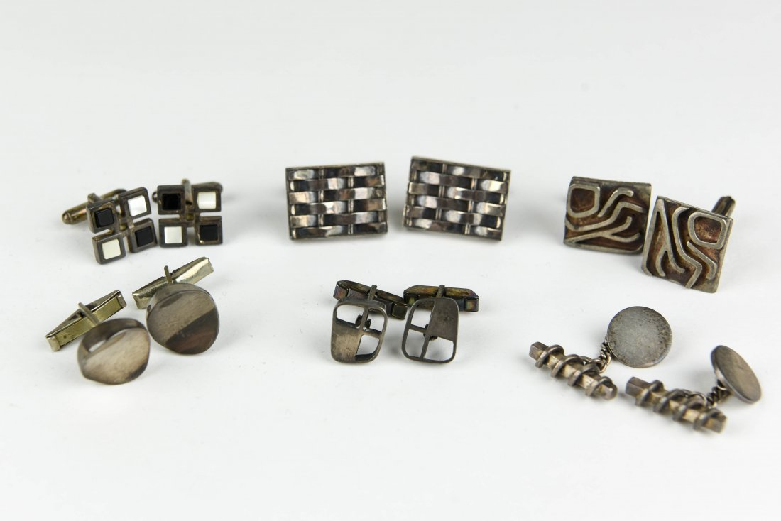 (6) PAIR OF MODERNIST STERLING SILVER CUFFLINKS