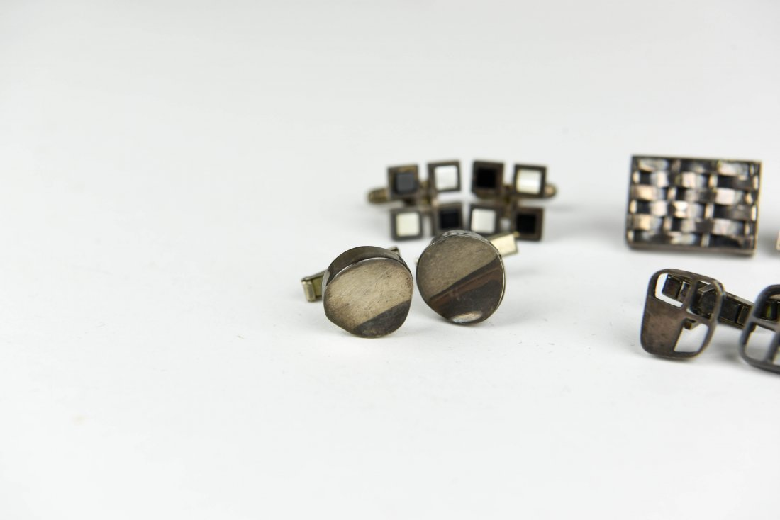 (6) PAIR OF MODERNIST STERLING SILVER CUFFLINKS - 2
