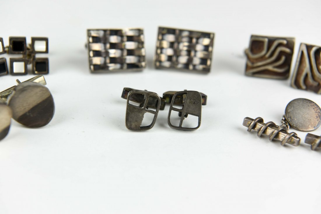 (6) PAIR OF MODERNIST STERLING SILVER CUFFLINKS - 3