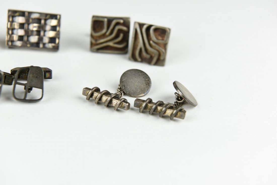 (6) PAIR OF MODERNIST STERLING SILVER CUFFLINKS - 4