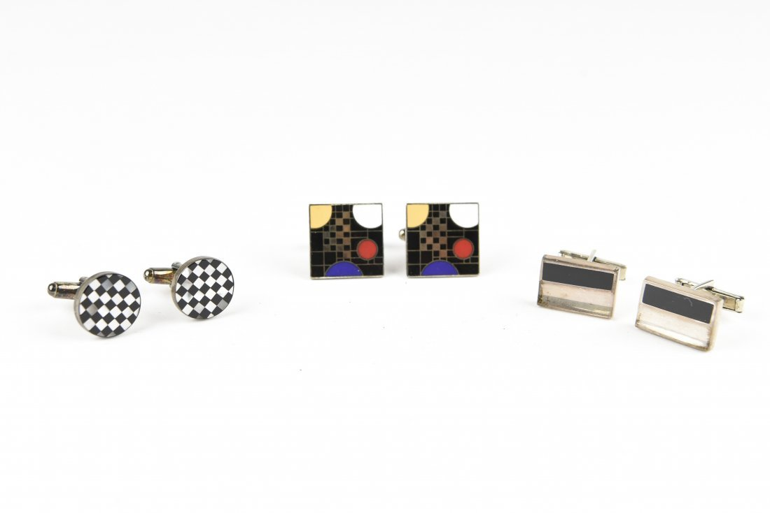 (3) PAIR MODERNIST CUFFLINKS INCL. F. L. W.
