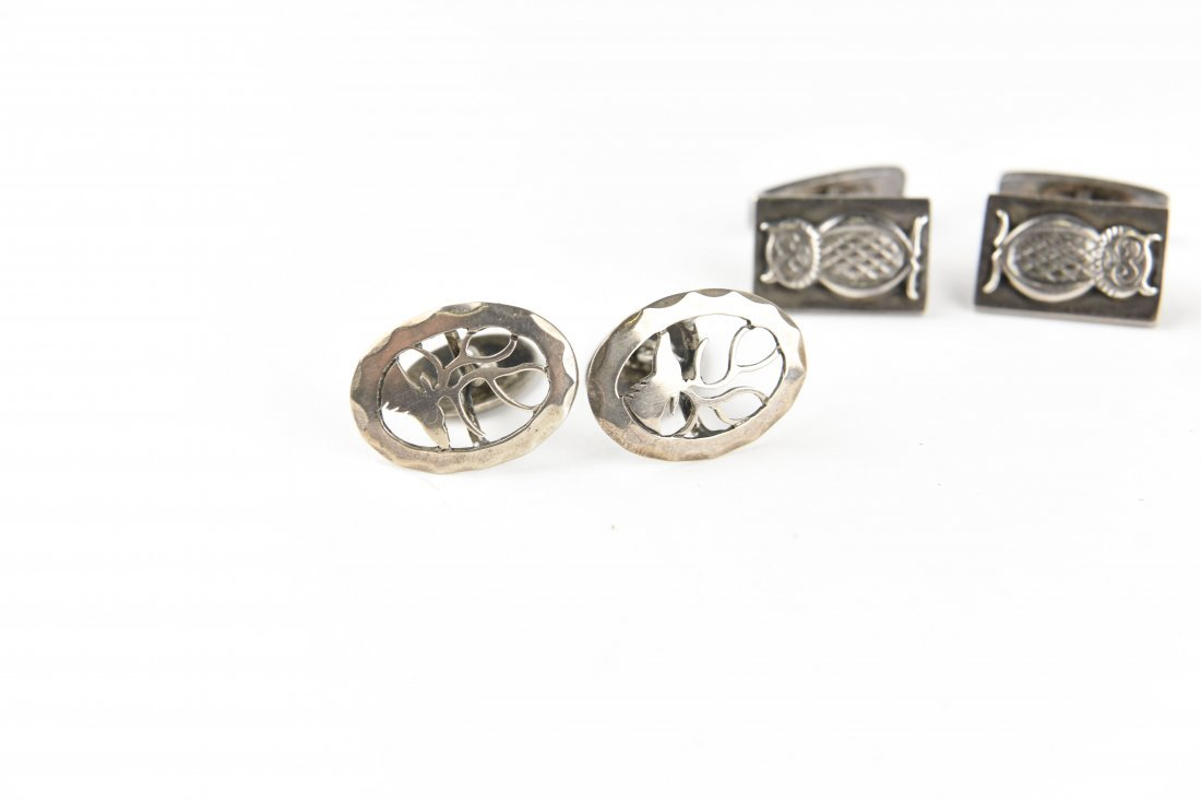 (4) PAIR STERLING SILVER ANIMAL CUFFLINKS - 2