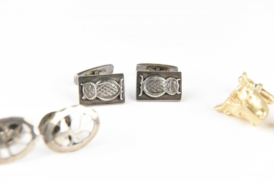 (4) PAIR STERLING SILVER ANIMAL CUFFLINKS - 3