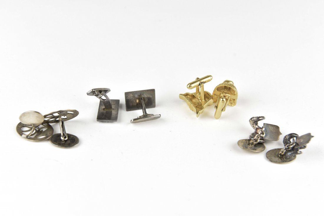 (4) PAIR STERLING SILVER ANIMAL CUFFLINKS - 6