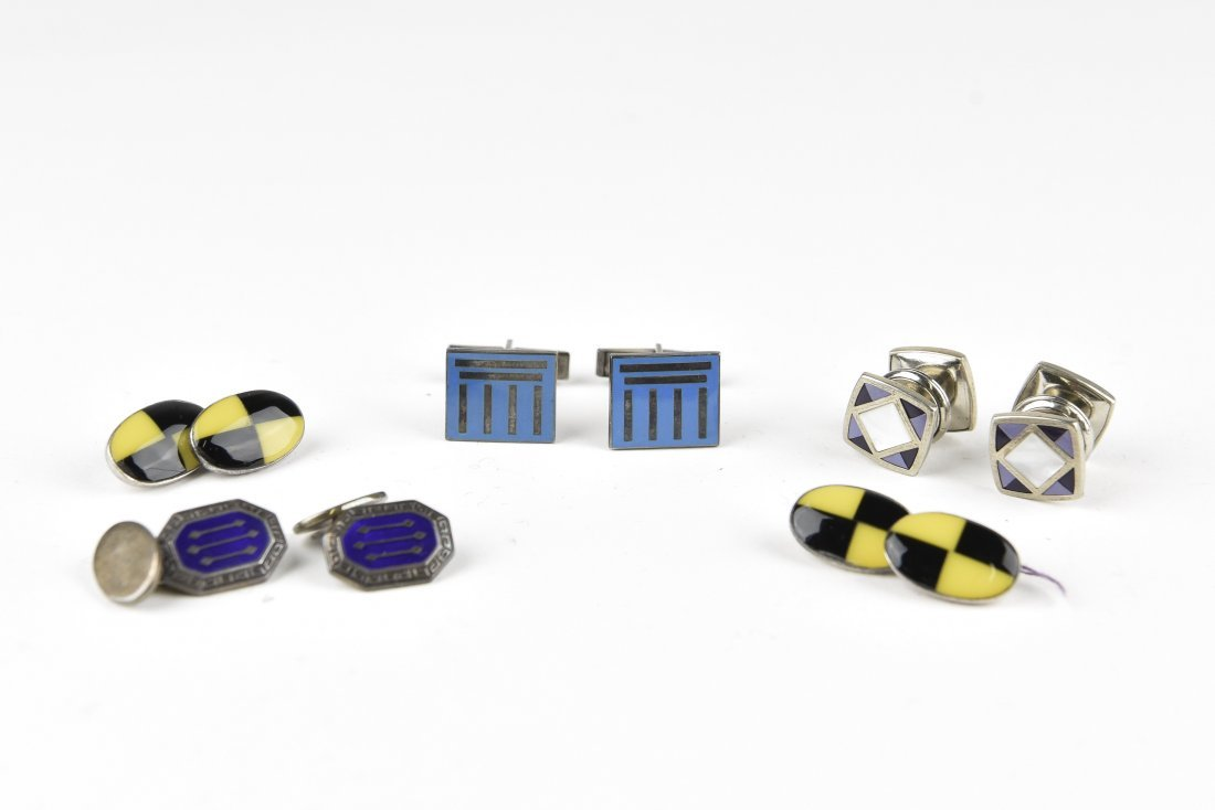 (4) PAIRS OF ENAMEL ON SILVER CUFFLINKS