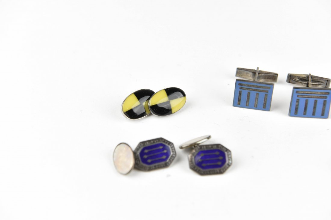 (4) PAIRS OF ENAMEL ON SILVER CUFFLINKS - 2