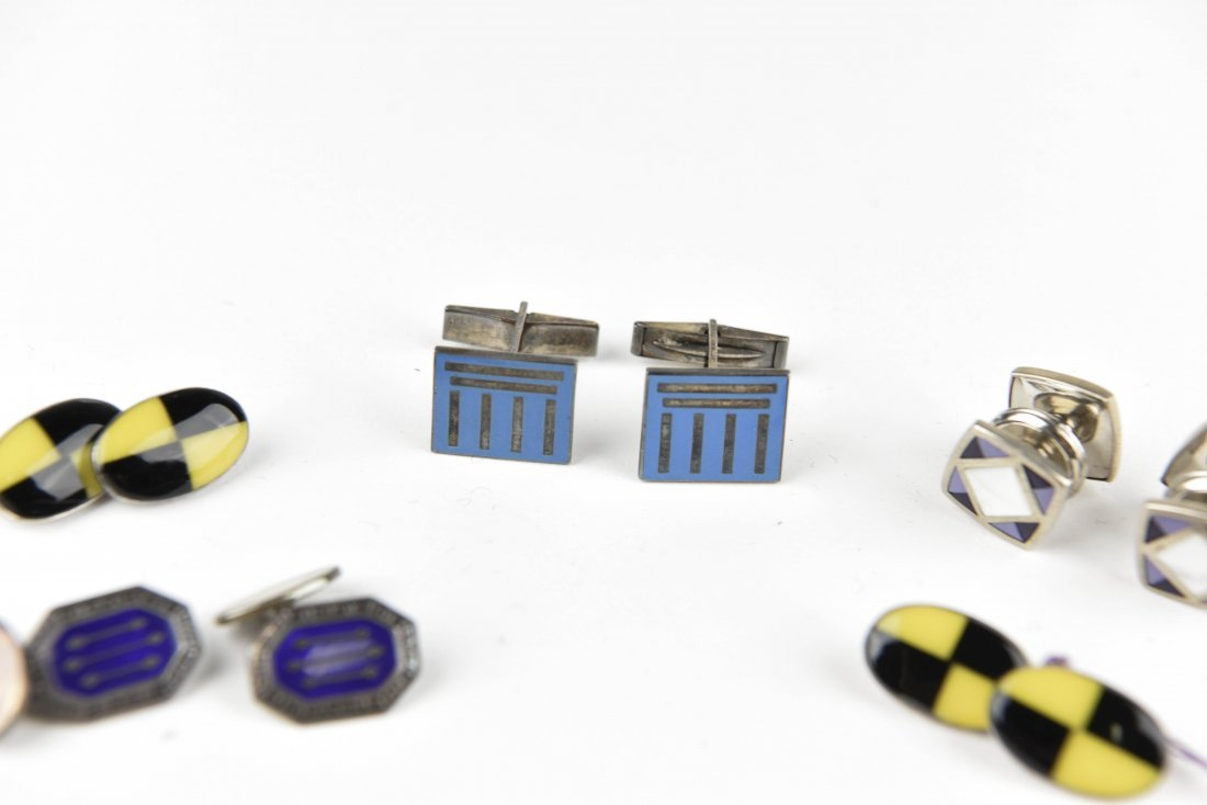 (4) PAIRS OF ENAMEL ON SILVER CUFFLINKS - 3
