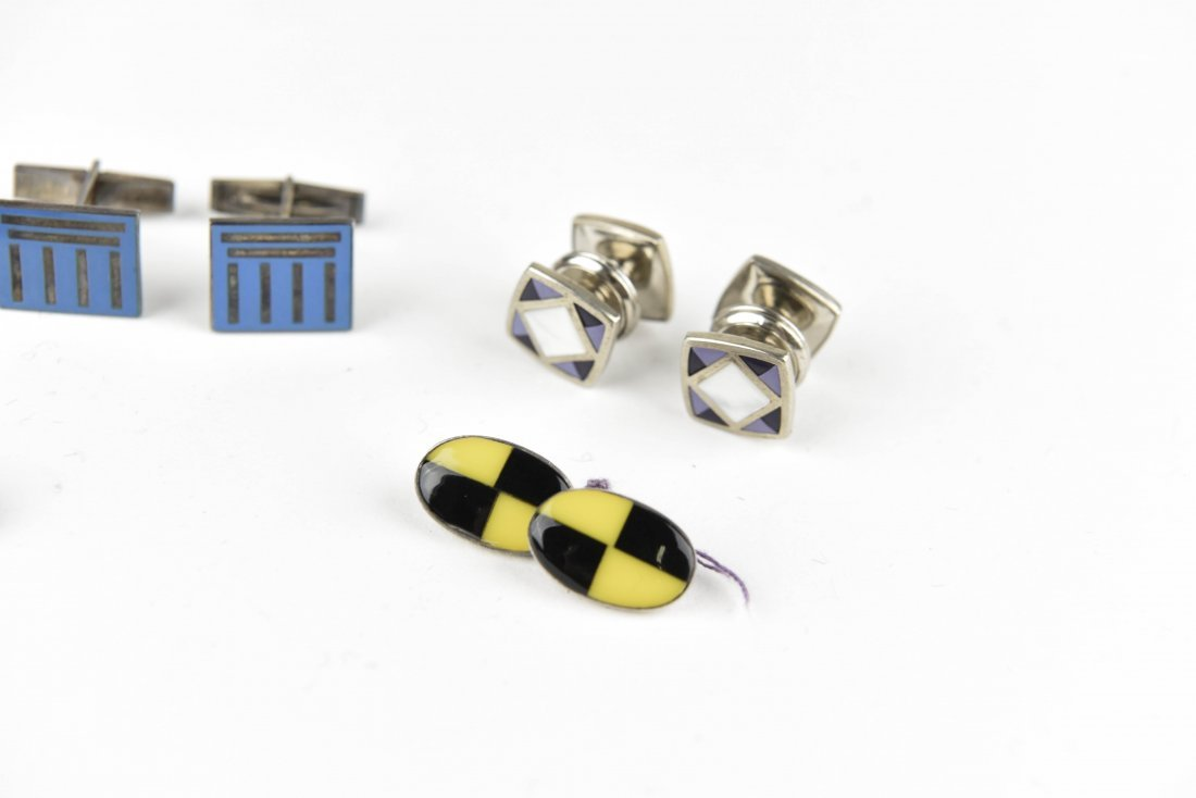 (4) PAIRS OF ENAMEL ON SILVER CUFFLINKS - 4