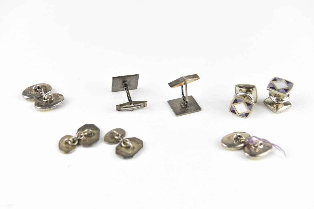 (4) PAIRS OF ENAMEL ON SILVER CUFFLINKS - 5