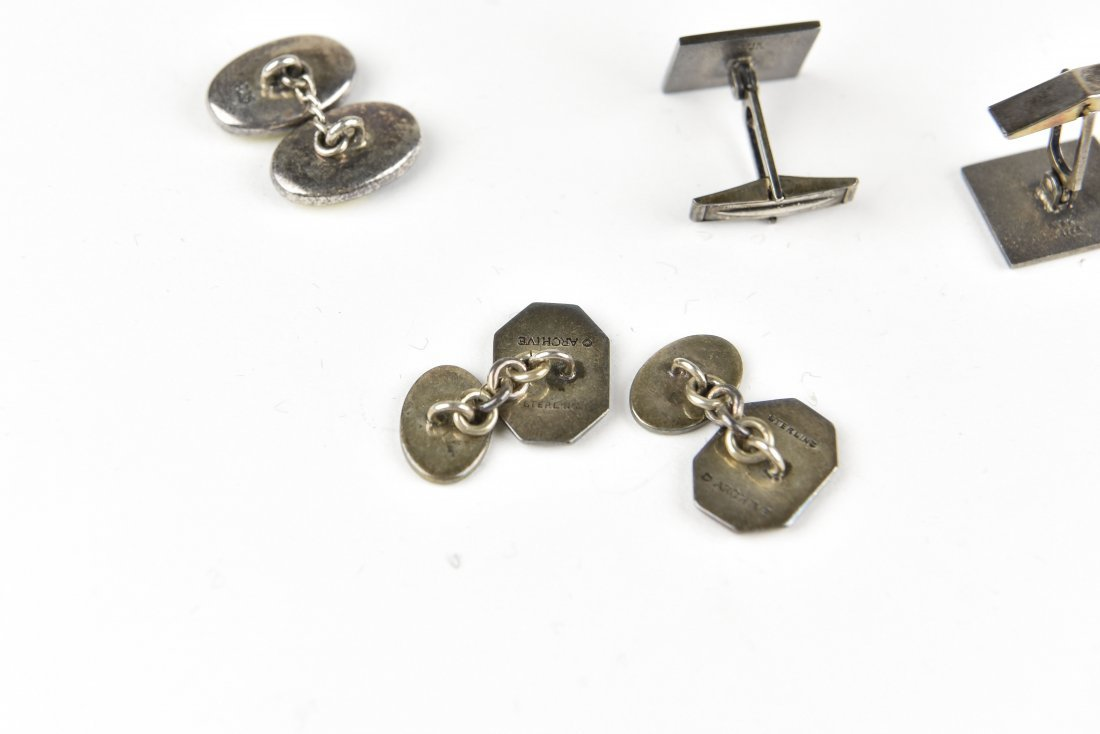 (4) PAIRS OF ENAMEL ON SILVER CUFFLINKS - 6