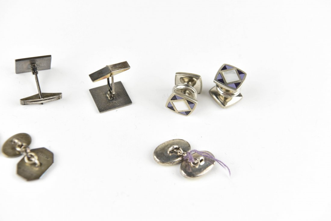 (4) PAIRS OF ENAMEL ON SILVER CUFFLINKS - 7