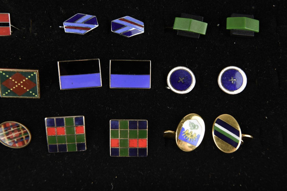 (18) PAIRS OF ENAMEL ART DECO CUFFLINKS - 2