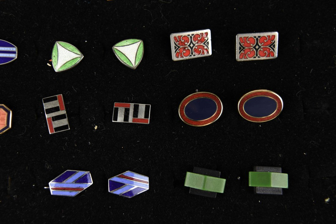 (18) PAIRS OF ENAMEL ART DECO CUFFLINKS - 3