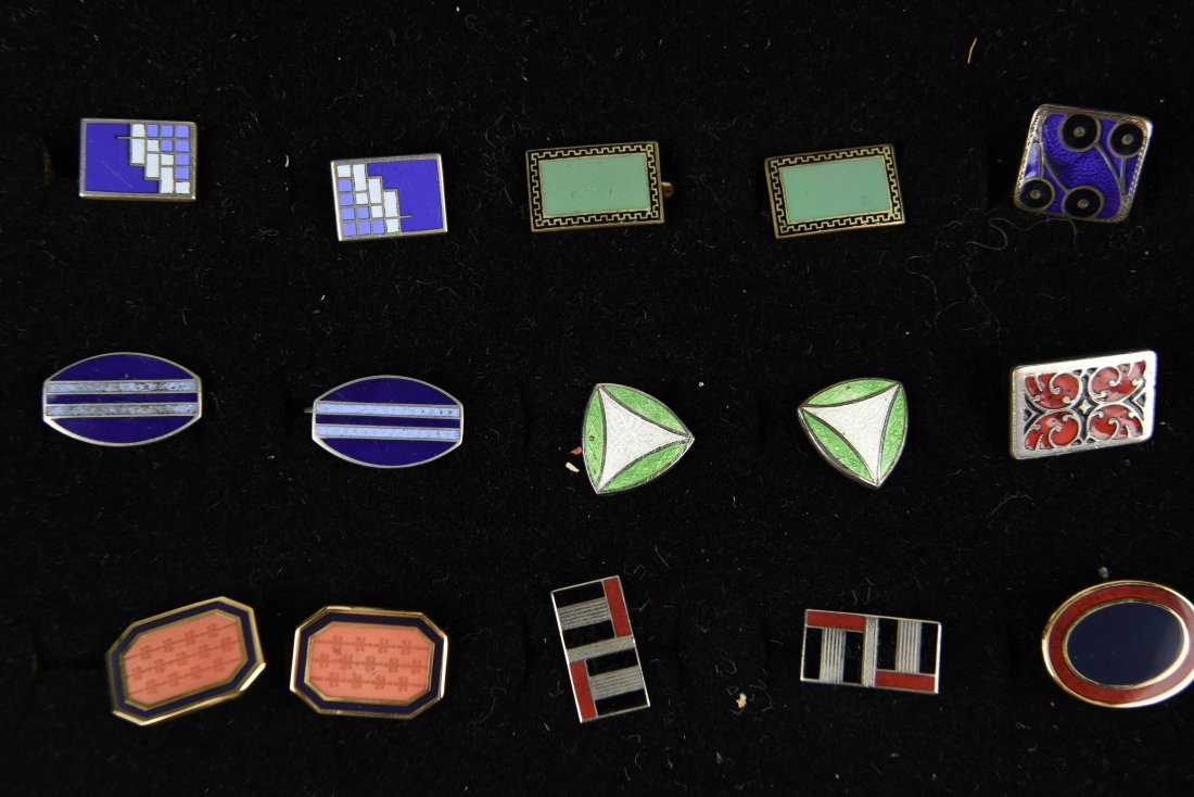 (18) PAIRS OF ENAMEL ART DECO CUFFLINKS - 4