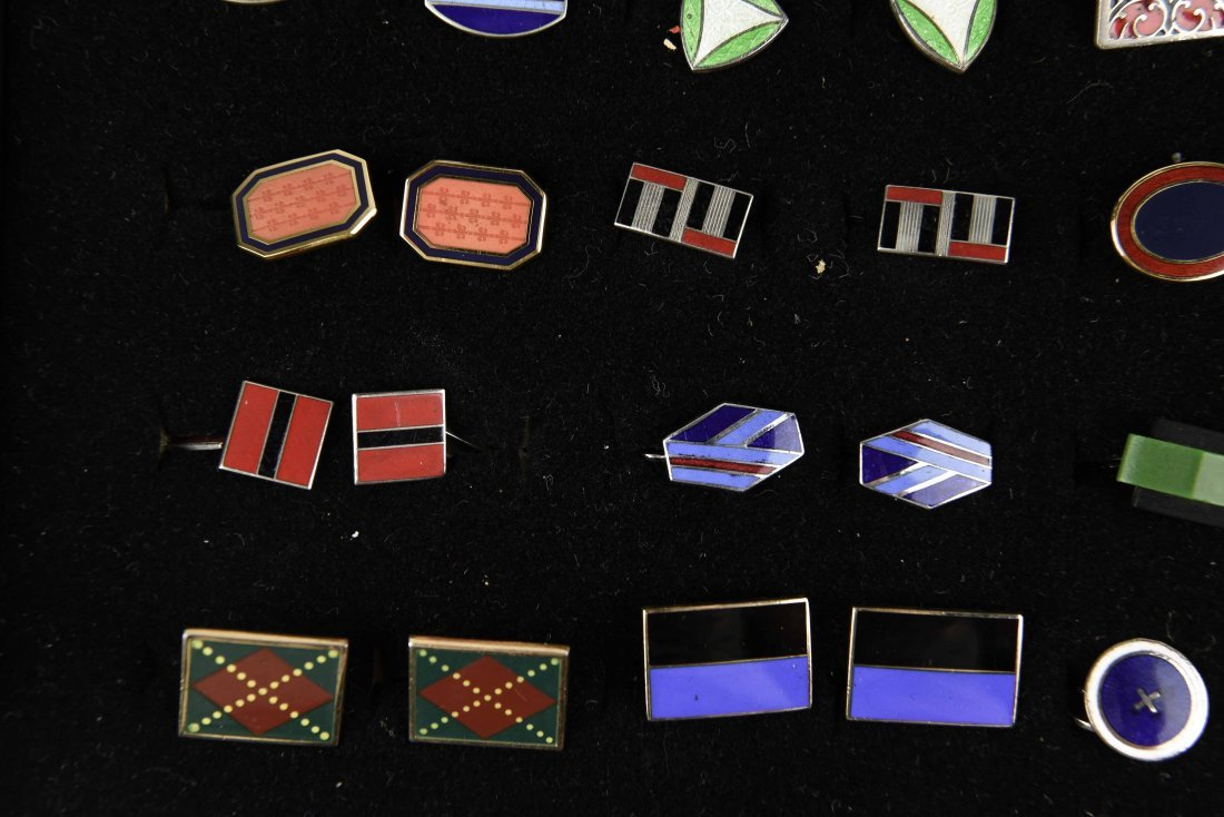 (18) PAIRS OF ENAMEL ART DECO CUFFLINKS - 5