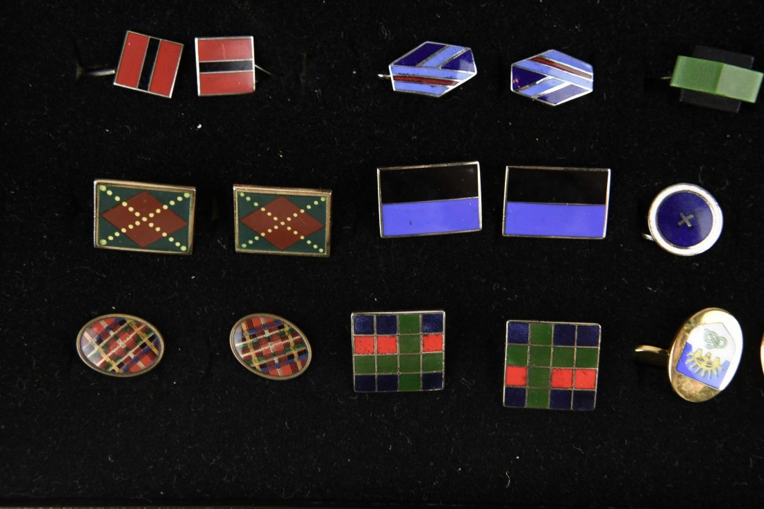 (18) PAIRS OF ENAMEL ART DECO CUFFLINKS - 6