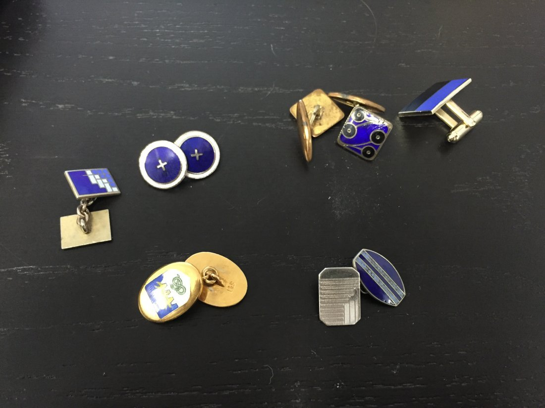 (18) PAIRS OF ENAMEL ART DECO CUFFLINKS - 7