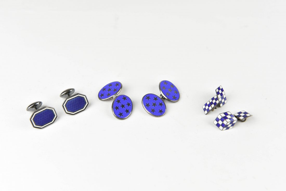 (3) PAIRS OF STERLING SILVER & ENAMEL CUFFLINKS