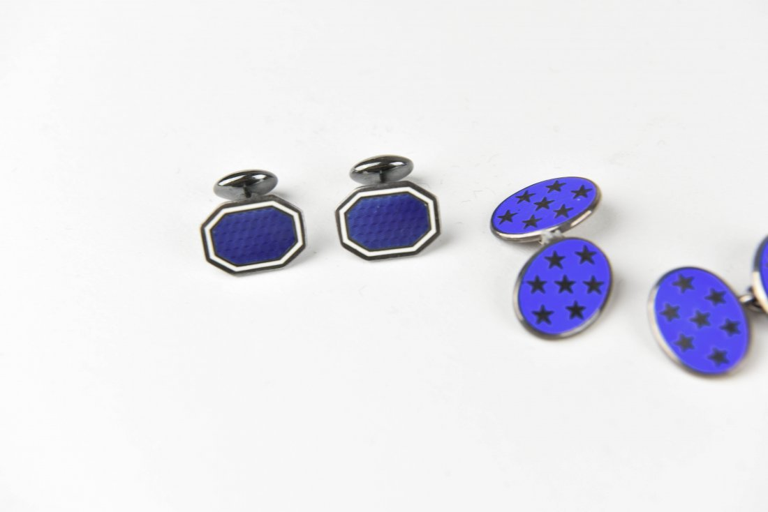 (3) PAIRS OF STERLING SILVER & ENAMEL CUFFLINKS - 2