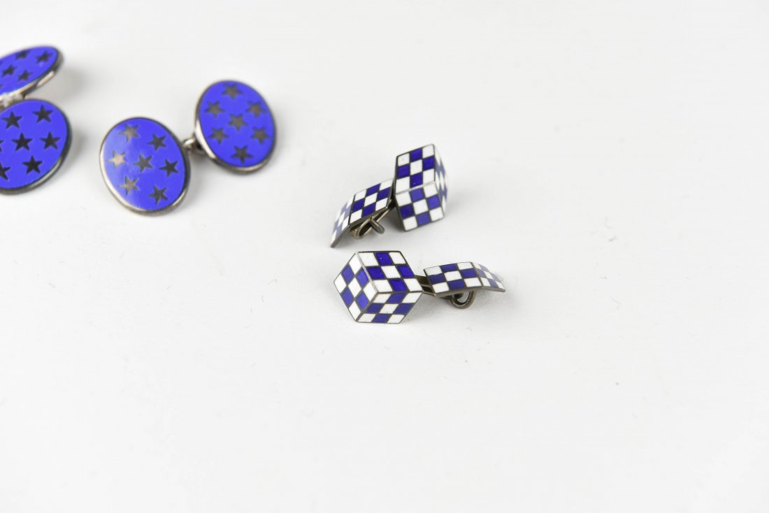 (3) PAIRS OF STERLING SILVER & ENAMEL CUFFLINKS - 3