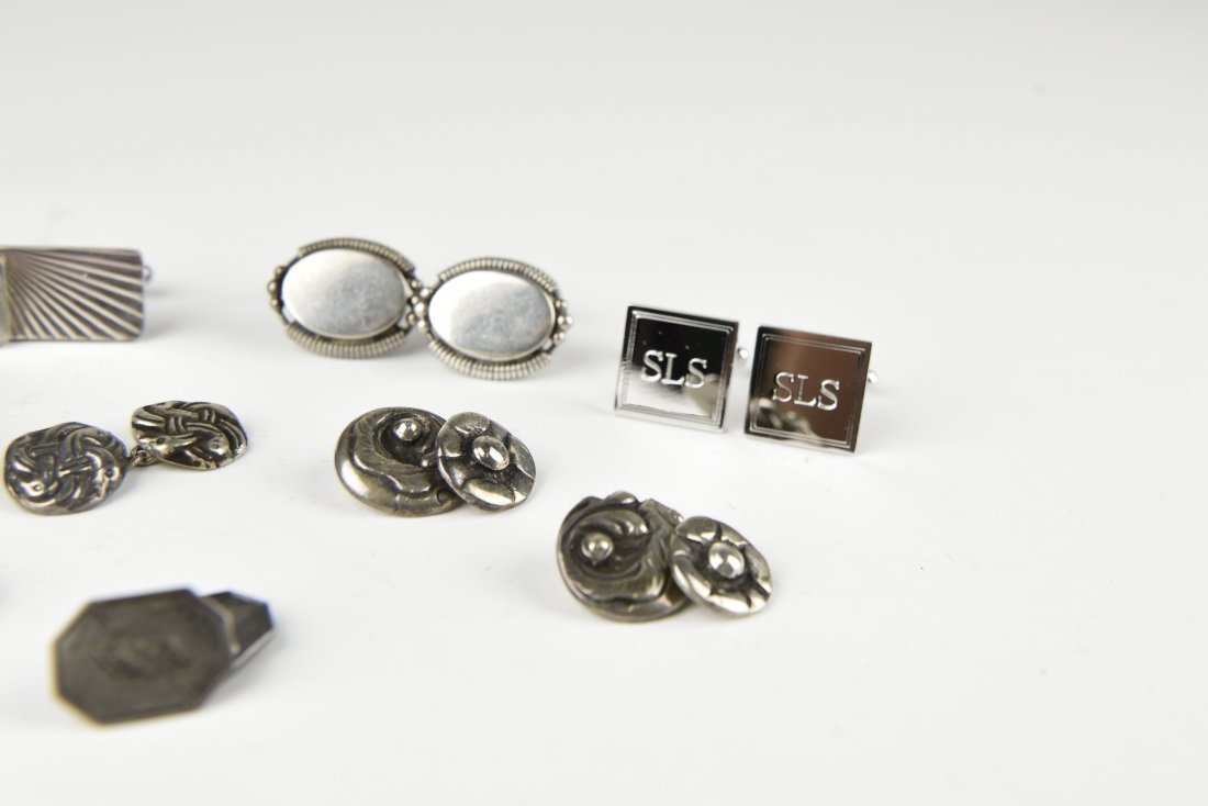 (8) PAIRS OF STERLING SILVER CUFFLINKS - 2