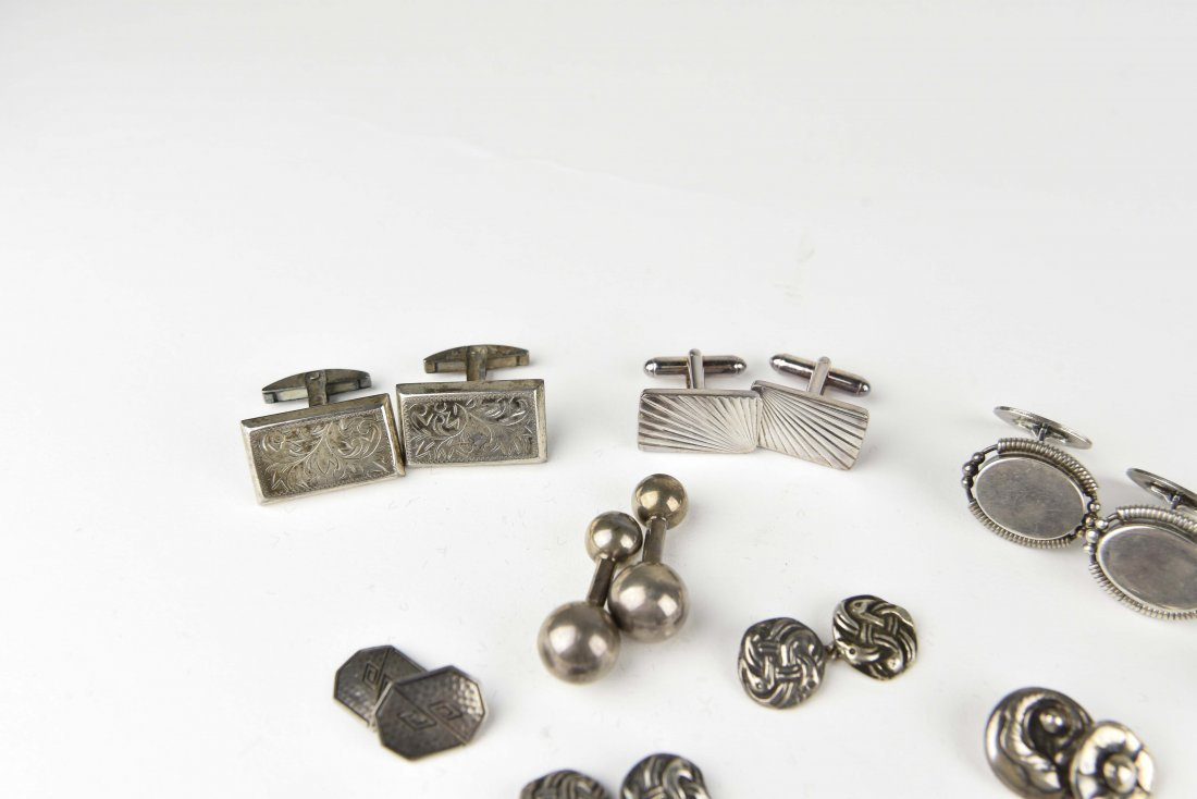 (8) PAIRS OF STERLING SILVER CUFFLINKS - 4