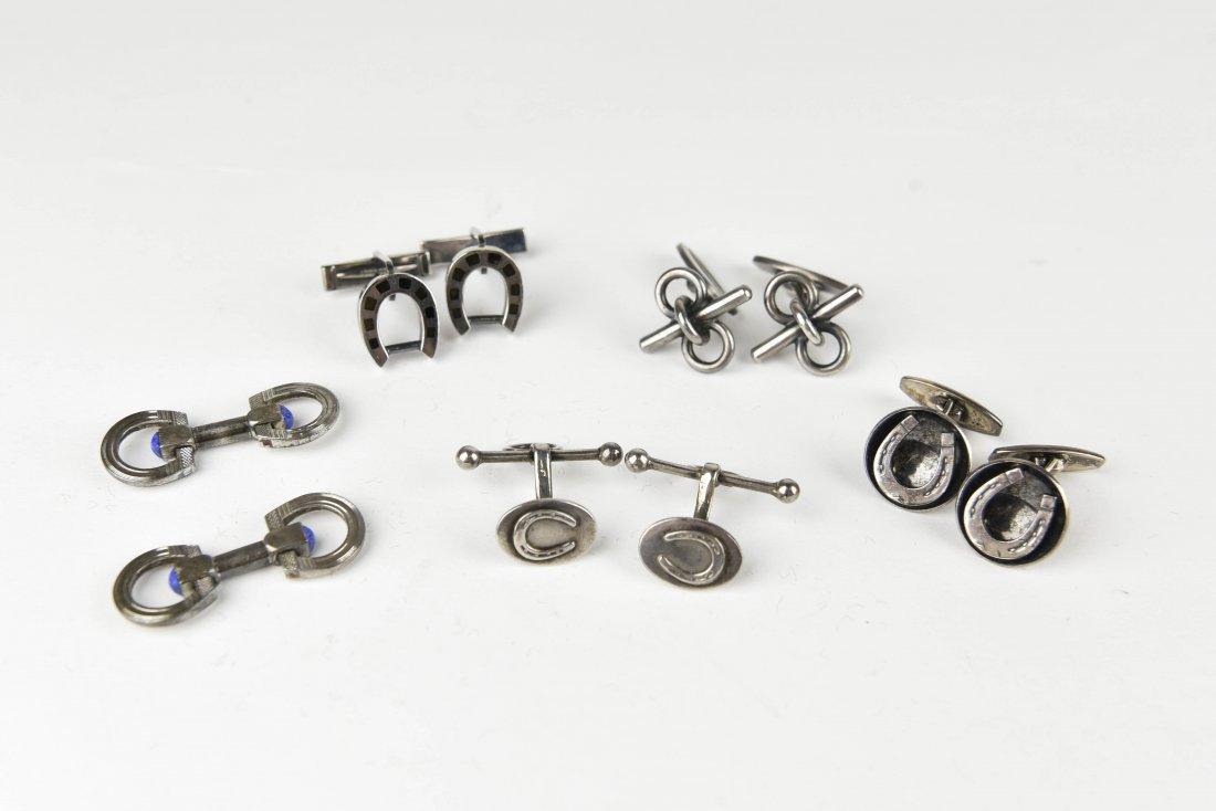 (5) PAIRS OF SILVER EQUESTRIAN & HORSE CUFFLINKS