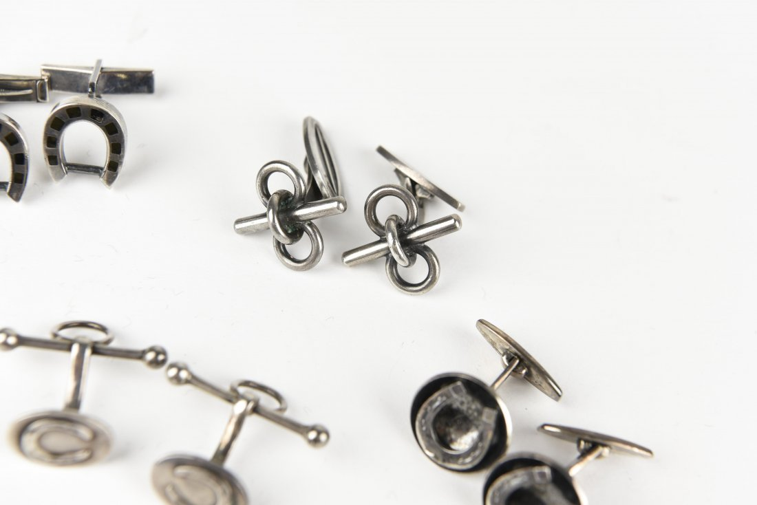 (5) PAIRS OF SILVER EQUESTRIAN & HORSE CUFFLINKS - 4