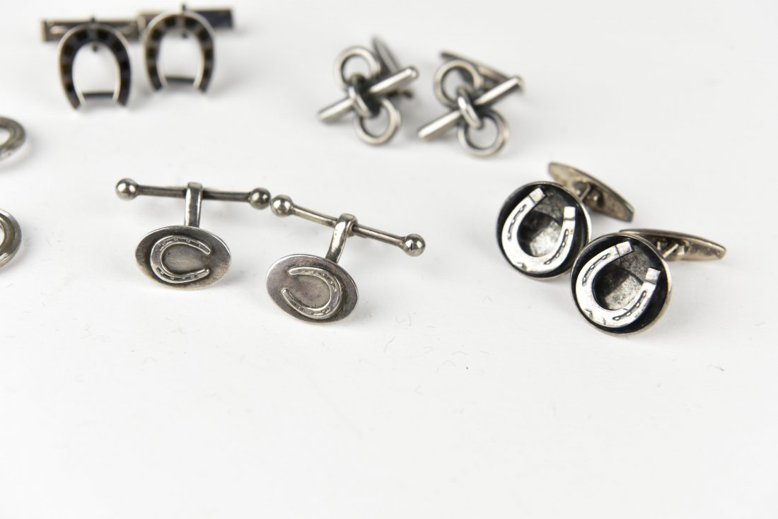 (5) PAIRS OF SILVER EQUESTRIAN & HORSE CUFFLINKS - 5