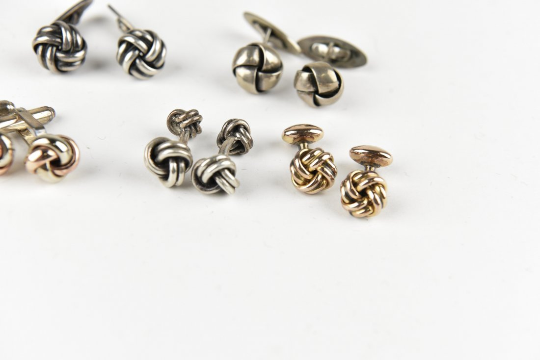 (7) PAIRS OF STERLING KNOT CUFFLINKS - 3