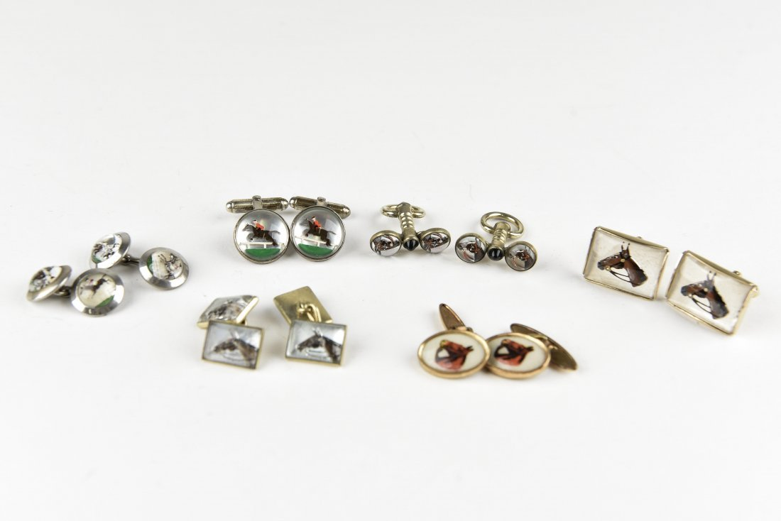 (6) PAIRS OF EQUESTRIAN AND HORSE CUFFLINKS
