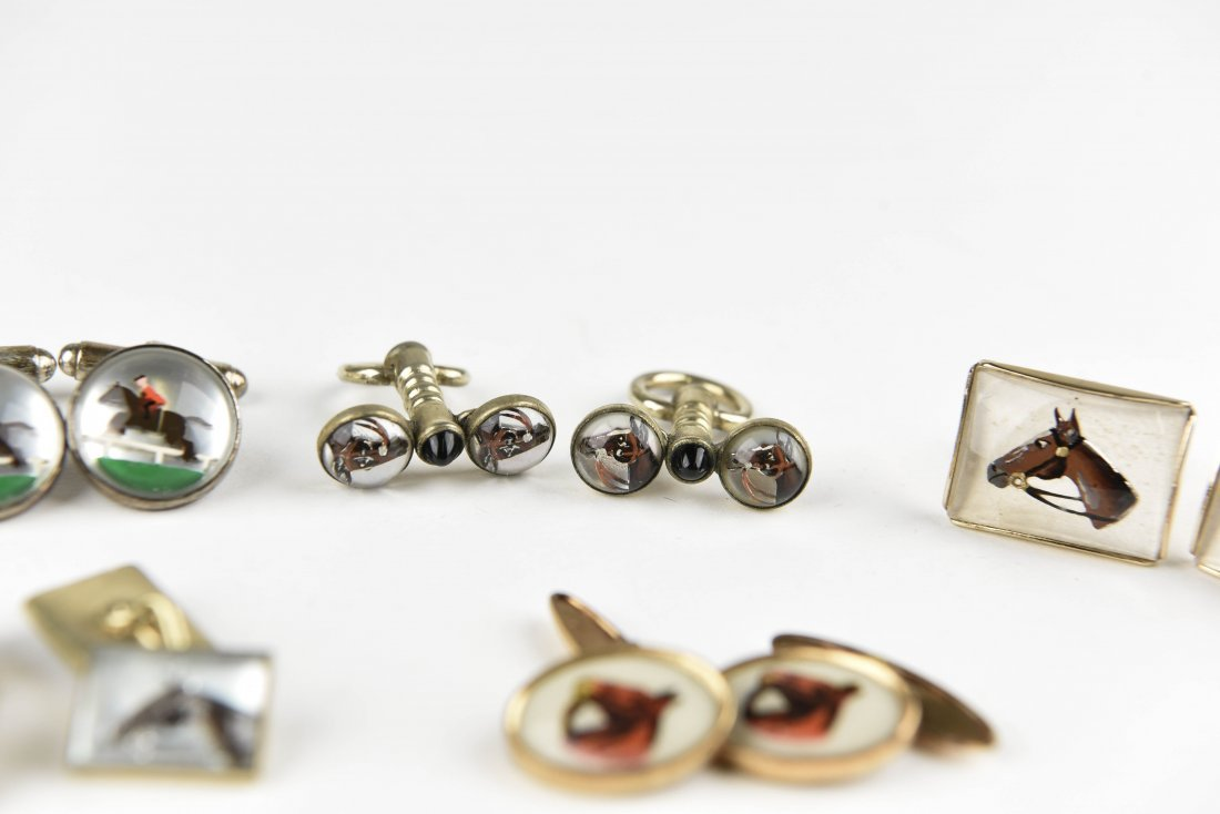 (6) PAIRS OF EQUESTRIAN AND HORSE CUFFLINKS - 7
