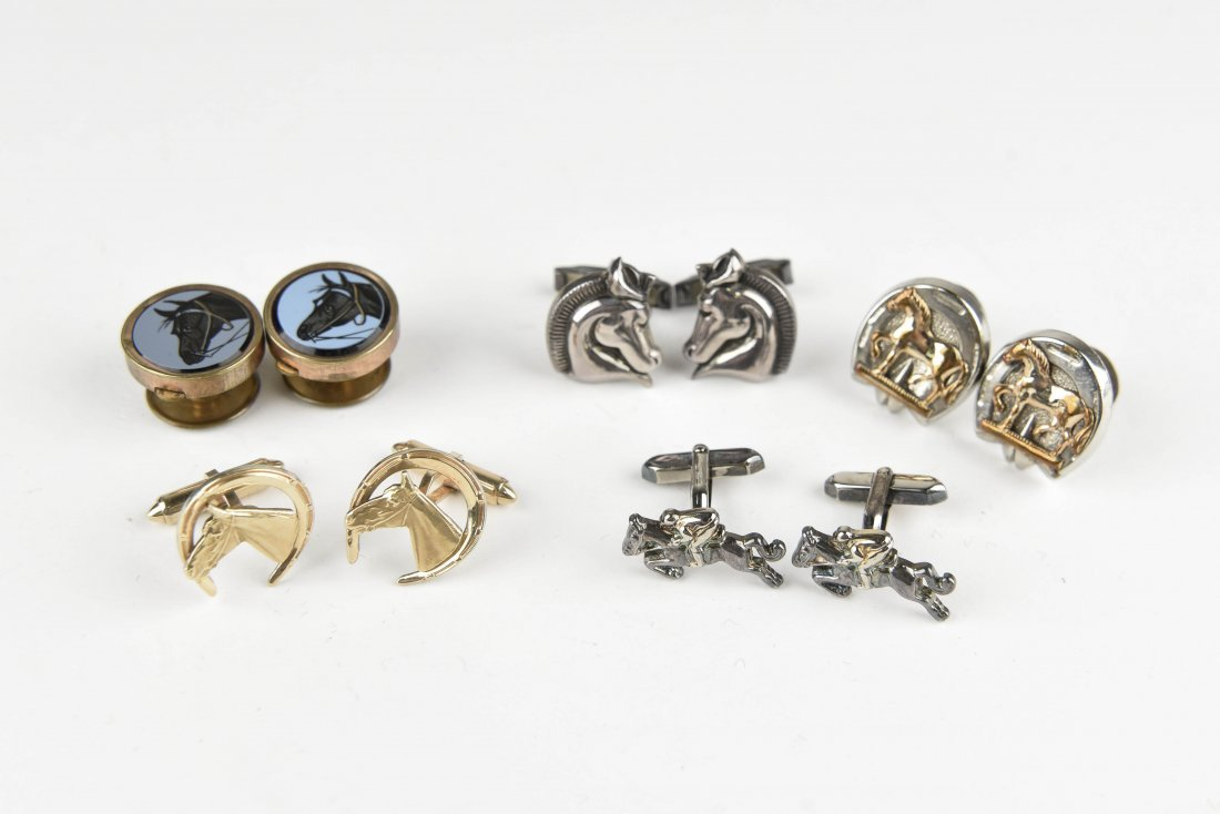 (5) HORSE AND EQUESTRIAN CUFFLINKS