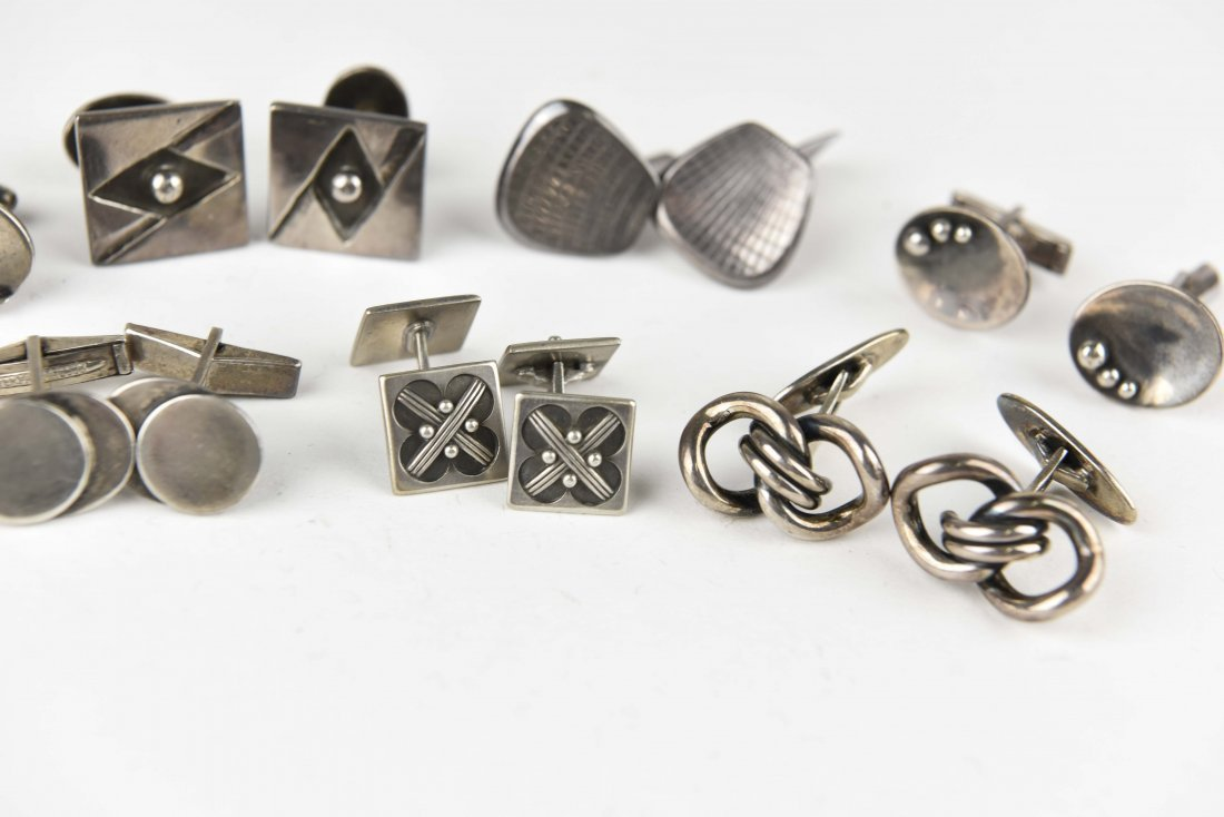 (8) PAIRS OF MODERNIST STERLING SILVER CUFFLINKS - 3