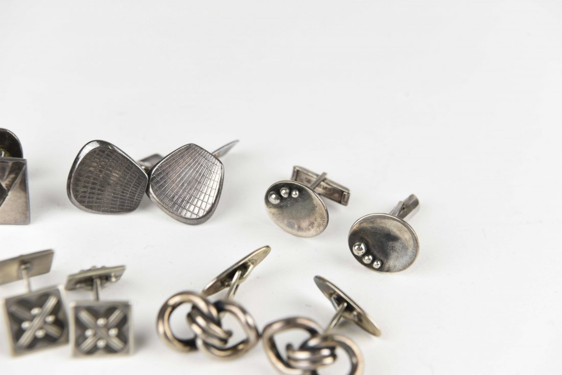 (8) PAIRS OF MODERNIST STERLING SILVER CUFFLINKS - 4
