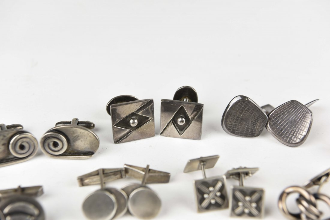 (8) PAIRS OF MODERNIST STERLING SILVER CUFFLINKS - 5