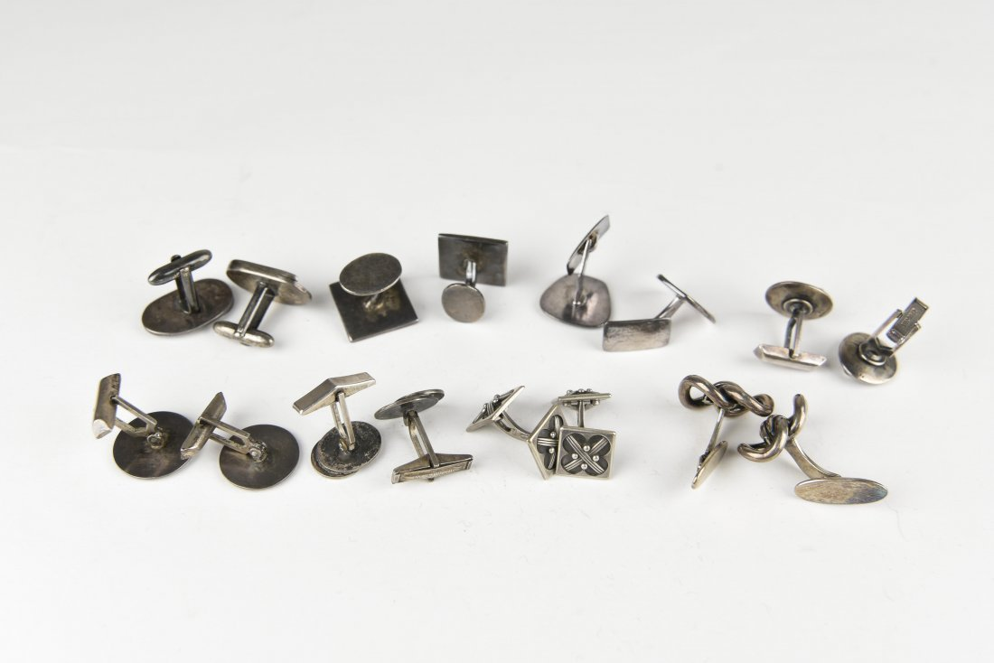 (8) PAIRS OF MODERNIST STERLING SILVER CUFFLINKS - 7